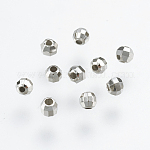 925 Sterling Silver Spacer Beads, Round, Faceted, Platinum, 2.5mm, Hole: 0.7mm