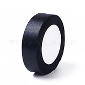 Satin Ribbon for DIY Garment Hairbow Accessory, Black, about 1 inches(25mm) wide, 25yards/roll(22.86m/roll)