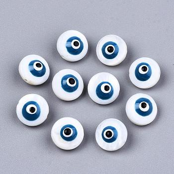 Естественных пресноводных стеклянные бусы, с эмалью, эмалированные блестки, плоские круглые с сглаза, Marine Blue, 8.5x5.5 мм, отверстие : 0.8 мм