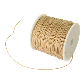 Braided Nylon Thread, Chinese Knotting Cord Beading Cord for Beading Jewelry Making, BurlyWood, 0.8mm; about 100yards/roll