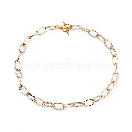 Collares de cadena de clip de papel de aluminio unisexNJEW-JN02720-1