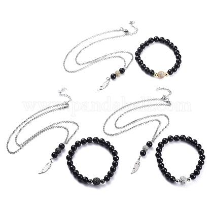 Pendant Necklaces and Stretch Bracelets SetsSJEW-JS01071-1