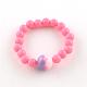 Flower Acrylic Pendant Necklaces and Stretch Bracelets Jewelry SetsSJEW-R048-04-8