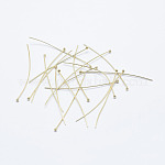 Brass Ball Head Pins, Long-Lasting Plated, Nickel Free, Real 18K Gold Plated, 45x0.6mm, Head: 1.8mm; 160pcs/bag