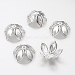 Iron Bead Caps, Silver Color Plated, 18mmx8mm, hole: 2mm