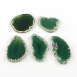 Dyed Mixed Shape Natural Agate Gemstone Big Pendants, SeaGreen, 50~110x23~50x5~7mm, Hole: 2mm