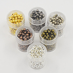5 Box Iron Round Spacer Beads, Mixed Color, 4mm, Hole: 1.5mm; about 13g/box