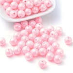 Solid Color Acrylic Beads, AB Color Plating, Round, Pink, 10mm in diameter, Hole: 2mm; about 892pcs/500g