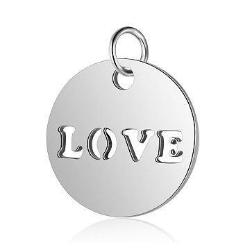 304 charms in acciaio inox, piatta e rotonda con la parola amore, colore acciaio inossidabile, 12x1mm, Foro: 2.5 mm
