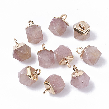 Natural Strawberry Quartz Charms, with Top Golden Plated Iron Loops, Star Cut Round Beads, 12x10x10mm, Hole: 1.8mm