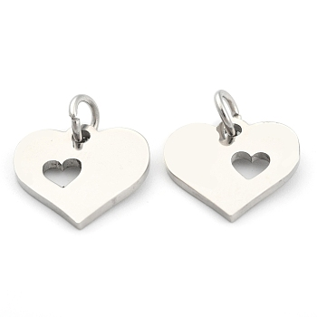 304 Stainless Steel Pendants, Heart with Heart, Stainless Steel Color, 12x12.5x1mm, Hole: 3mm
