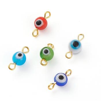 Ручной работы дурной глаз соединители лэмпворк линки, с позолоченной металлической фурнитурой для глаз, разноцветные, 14x6 мм, отверстие : 1.5 мм