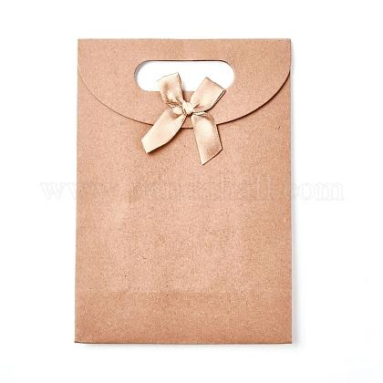 Sacs-cadeaux en papier kraft avec ruban en forme de nœud papillonX-CARB-WH0009-05B-1