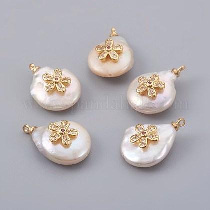 Colgantes naturales de perlas cultivadas de agua dulcePEAR-F008-25G-01-1