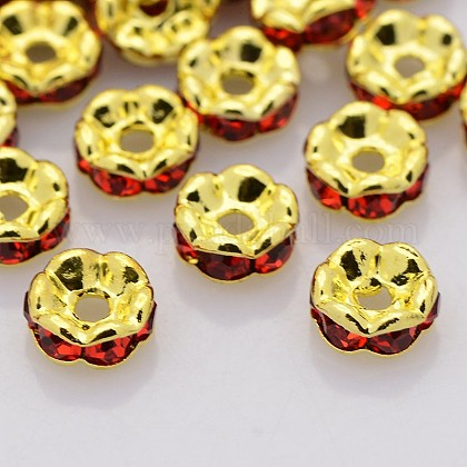 Brass Rhinestone Spacer Beads RB-A014-L7mm-21G-NF-1