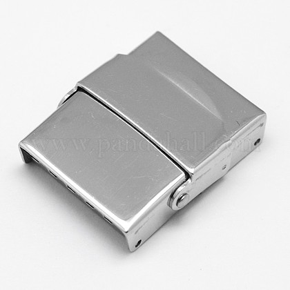 Rectangle 304 Stainless Steel Watch Band Clasps STAS-F067-06-1