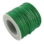 Cordones de hilo de algodón encerado, verde, 1 mm; Aproximadamente 100 yardas / rollo (300 pies / rollo)