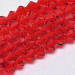 Imitate Austrian Crystal Bicone Glass Beads Strands, Grade AA, Faceted, Red, 4x4mm, Hole: 1mm; about 98~100pcs/strand, 15