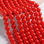 Painted Glass Bead Strands, Baking Paint, Round, Red, 10mm; Hole: 1.3~1.6mm, about 80pcs/strand, 31.4