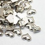 Семьи кабошоны тема сплава, Плавающие подвески, diy для плавающих медальонов, сердце с слово дочери, античное серебро, 7~7.5x9~9.8x2 мм