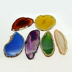 Natural Agate Slices Big Pendants, Dyed, Mixed Color, 50~110x27~60x5~10mm, Hole: 2mm; about 20~40pcs/kg