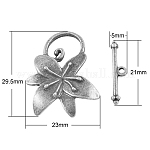 Alloy Toggle Clasps, Lead Free, Flower, Antique Silver, 21x5x2.5mm