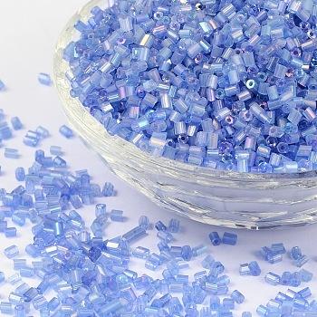11/0 de dos abalorios de la semilla de cristal tallado, hexágono, trans.colours arco iris, azul, tamaño: aproximamente 2.2 mm de diámetro, aproximamente 37500 unidades / libra