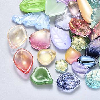 Glasanhänger / Perlen, Mischformen, Mischfarbe, 8~26x6~16x3~8 mm, Bohrung: 1 mm