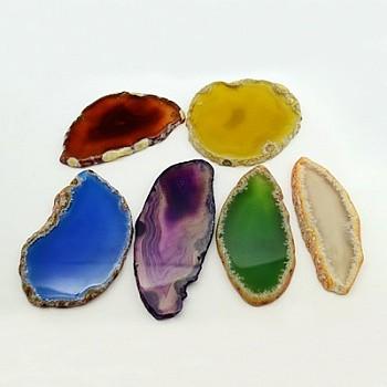 Естественно агат нарезает большие кулоны, окрашенные, разноцветные, 50~110x27~60x5~10 мм, отверстие: 2 мм; около 20~40 шт / кг