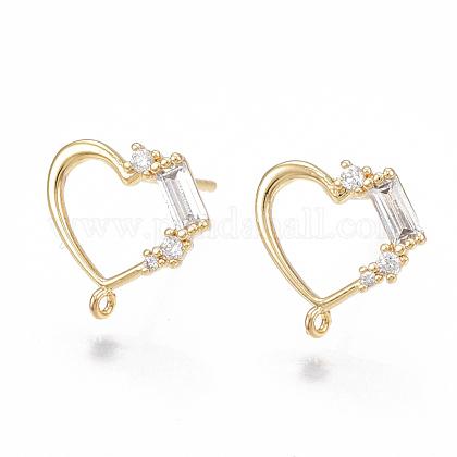 Brass Cubic Zirconia Stud Earring FindingsKK-S350-001G-1