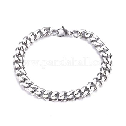 Pulseras de cadenas de de acero inoxidable 304 con eslabones cubanos para hombreBJEW-G631-13P-1