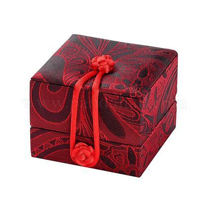 Cajas de anillo de seda bordada chinescasOBOX-P001-01A-1