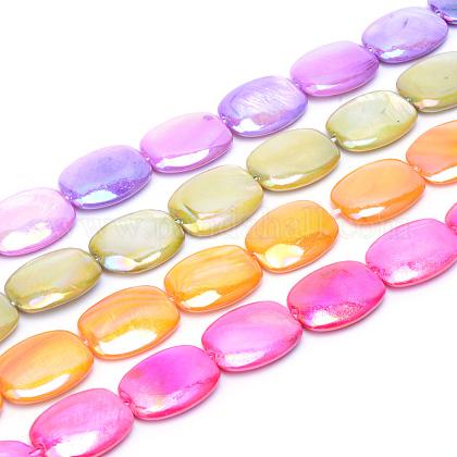Ab color plateado hebras naturales de cuentas de concha de agua dulceSHEL-S253-10-1