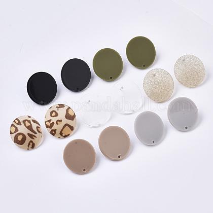 Fornituras de pendiente de botón de acetato de celulosa (resina)KY-R022-013-1
