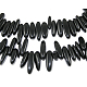 Natural Black Stone Chips Beads Strands X-G416-A15-1
