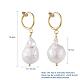 Natural Baroque Pearl Keshi Pearl Clip-on Hoop EarringsEJEW-JE03829-01-3