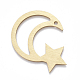 Grandes colgantes de aluminio, colgantes grandes con corte láser, Estrella lunar, dorado, 45x52.5x1mm, agujero: 3 mm