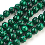 Synthetic Malachite Beads Strands, Dyed, Round, Green, Size: about 8mm in diameter, hole: 1.5mm; about 50pcs/strand, 15.5