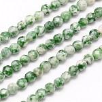 Chapelets de perles en jaspe à pois verts naturels, facette, ronde, verte, 4mm, trou: 1mm; environ 90 pcs/chapelet, 15.35