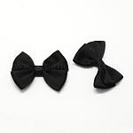 Аксессуары костюма из ткани, тканая бантом, чёрные, 44x55x8 мм ; около 200 шт / мешок