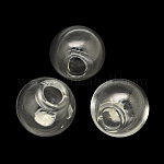 Round Handmade Blown Glass Globe Beads, for Stud Earring Making or Crafts, Half Drilled, Clear, 18mm, Hole: 4mm