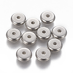 304 Stainless Steel Spacer Beads, Rondelle, Stainless Steel Color, 8x2.5mm, Hole: 1.6mm