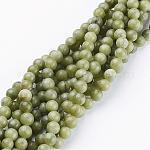 Chapelets de perles en pierre gemme naturelle, taiwan jade, ronde, environ 6 mm de diamètre, trou: environ 0.8 mm, 15