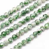Chapelets de perles en jaspe à pois verts naturels, facette, ronde, verte, 4mm, trou: 1mm; environ 90 pcs/chapelet, 15.35 pouces