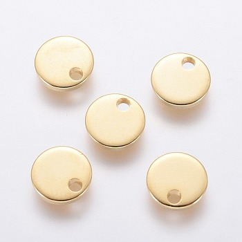 304 Stainless Steel Charms, Stamping Blank Tag, Flat Round, Golden, 7x1mm, Hole: 1.4mm