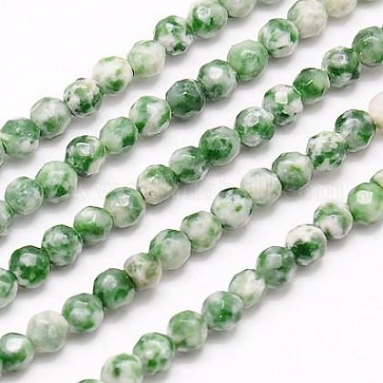 Chapelets de perles en jaspe à pois verts naturelsG-G545-35-1