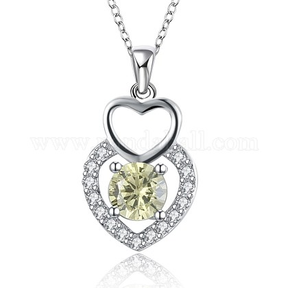 925 Sterling Silver Micro Pave Cubic Zirconia Pendant Necklaces BB34072-1