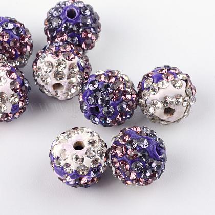 Abalorios de la bola de polímero coloreado a mano disco de la arcilla de dos tonosRB-R041-12-1