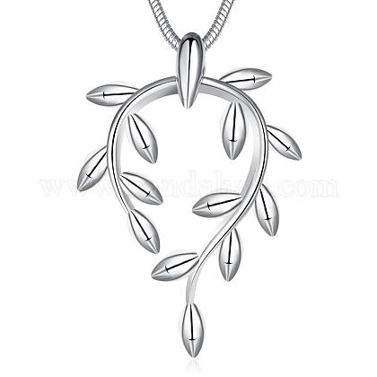 Fashion Popular Silver Color Plated Brass Snake Chain Branch Pendant NecklacesNJEW-BB01574-1