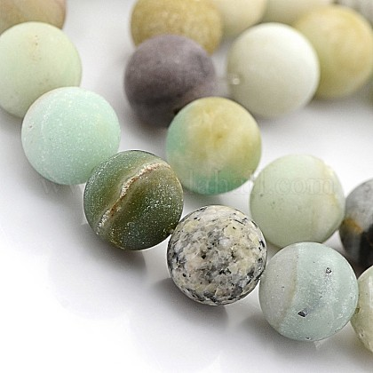 Natural Frosted Amazonite Round BeadsG-D616-6mm-1